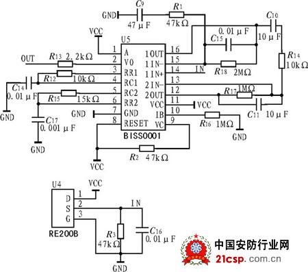 图2热释电红外传感器采集电路原理图